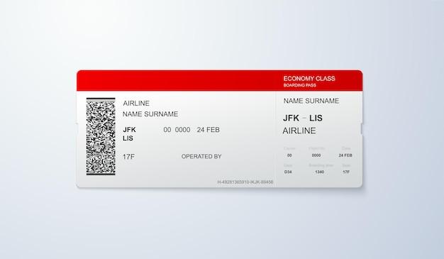 Modello di carta d'imbarco di volo