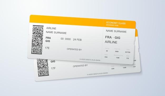 Modello di carte d'imbarco di volo