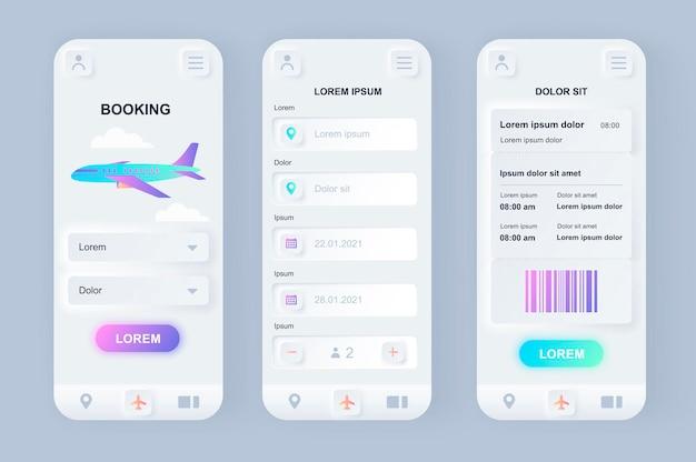 Prenotazione di volo moderna app mobile ui di design neumorfico