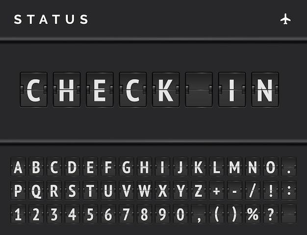 Scheda di vibrazione di partenza del volo con segno dell'aeroplano. tabellone segnapunti meccanico dell'aeroporto di vettore per i voli al check-in.
