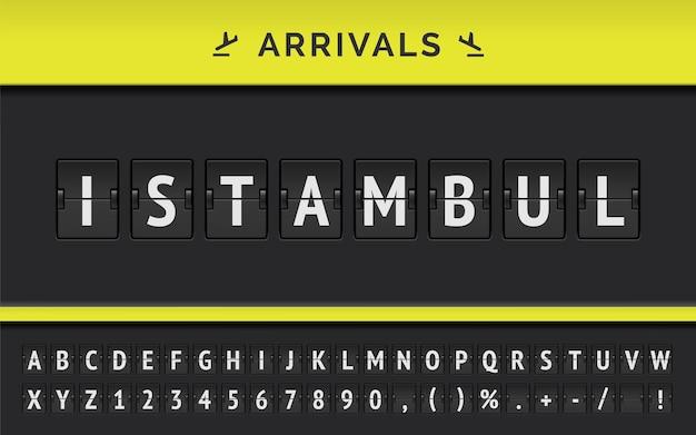 Informazioni sul volo della destinazione in asia: istanbul digitata dal carattere meccanico della lavagna a fogli mobili dell'aeroporto con l'icona di arrivo della compagnia aerea.
