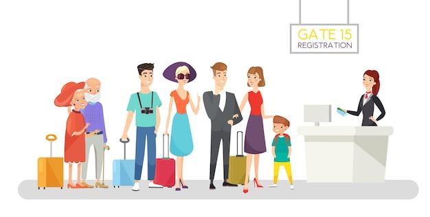 Illustrazione della coda di registrazione del volo ufficiale di aeroporto che controlla i biglietti e le carte d'imbarco