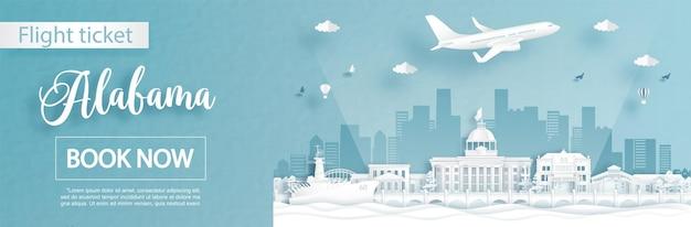 Modello di pubblicità di volo e biglietto con viaggio in alabama, stati uniti d'america concetto e famosi monumenti