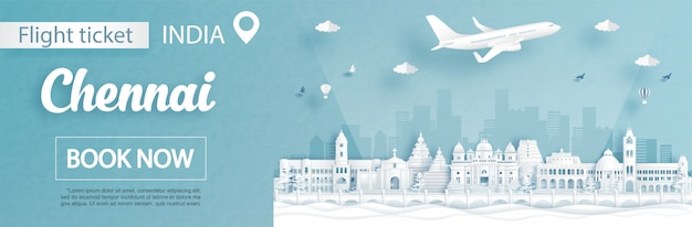 Modello di pubblicità di volo e biglietto con viaggio al concetto di chennai, india e famosi monumenti nell'illustrazione di stile del taglio della carta