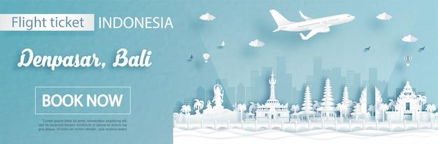Modello di pubblicità di volo e biglietto con viaggio a denpasar, concetto di bali indonesia e famosi monumenti nell'illustrazione di stile del taglio della carta