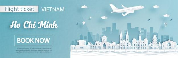 Modello di pubblicità di volo e biglietto con viaggio a ho chi minh, concetto di vietnam e monumenti famosi in illustrazione vettoriale stile taglio carta