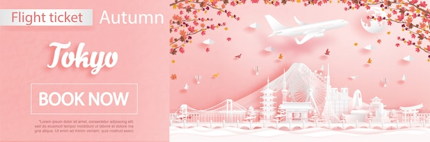 Modello di pubblicità di voli e biglietti con viaggio a tokyo, in giappone, nella stagione autunnale si occupa delle foglie di acero che cadono e dei monumenti famosi in stile taglio carta