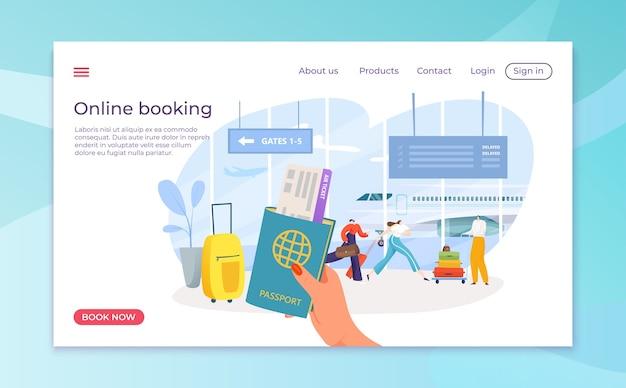 Prenotazione di biglietti aerei nell'app online per smartphone