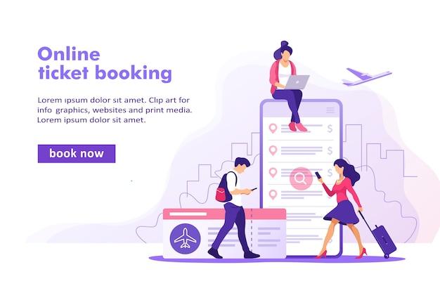 Concetto di prenotazione online di biglietti aerei