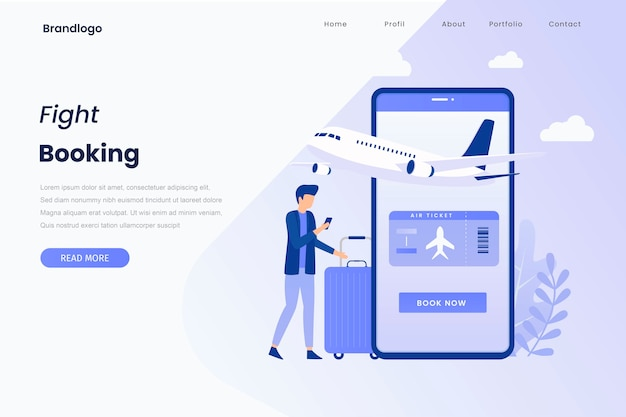 Pagina di destinazione dell'illustrazione di prenotazione online dei biglietti aerei