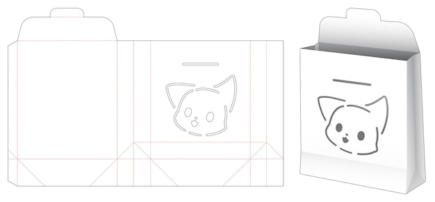 Capovolgere la borsa con il modello fustellato dello stencil del fumetto del gatto