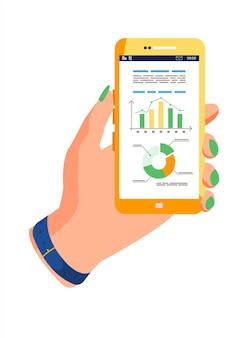 Lavagna a fogli mobili con grafico su smartphone per elaborazione dati e analisi