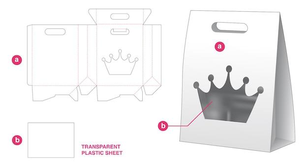 Borsa con manico ribaltabile e finestra a corona con modello fustellato in foglio di plastica trasparente