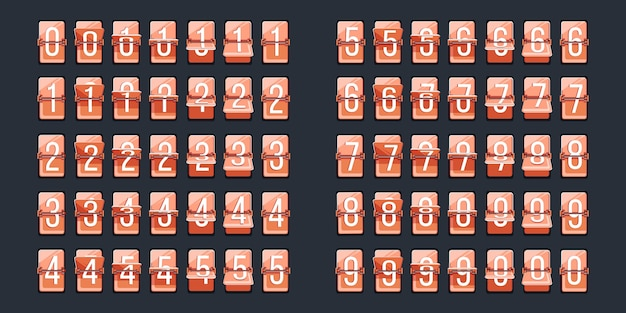 Capovolgi il numero. indicatore delle cifre del conto alla rovescia retrò per il quadrante dell'orologio. icona del numero dell'orologio di vibrazione. informazioni sulla data, programma di partenza o arrivo, misurazione numerica dell'ora. impostare su sfondo scuro illustrazione