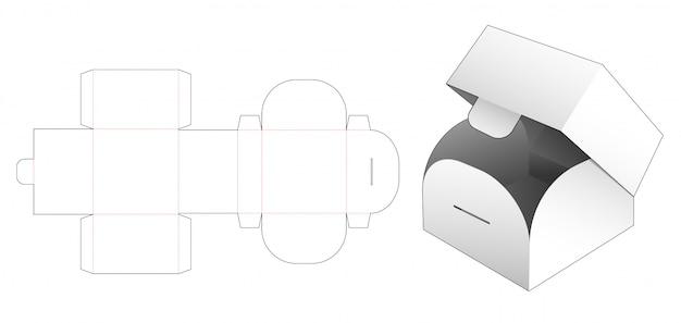 Modello fustellato di scatola quadrata capovolgere