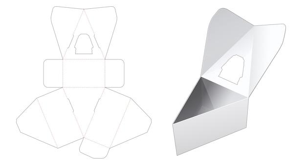 Scatola triangolare capovolta con modello di finestra fustellata