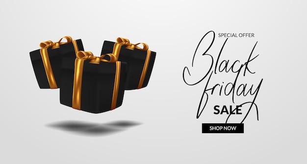 Float 3d box presente per la vendita del venerdì nero offre sconti per banner poster modello elegante e di lusso