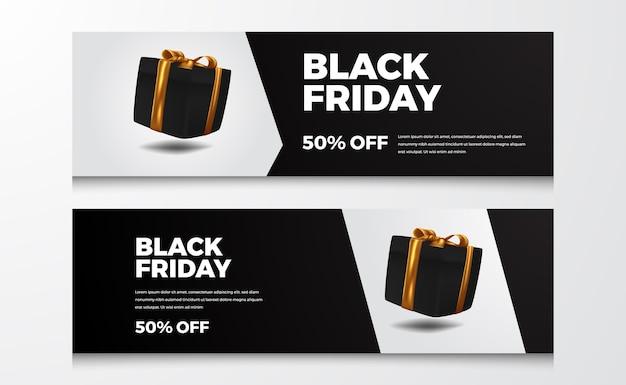 Galleggiante scatola regalo nera per elegante offerta di vendita sconto banner dell'evento venerdì nero