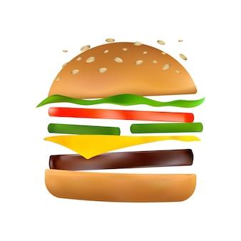 Hamburger galleggiante con ingredienti volanti: sottaceti, pomodoro, formaggio, polpettone di manzo, lattuga, panino al sesamo tostato. icona classica di hamburger. fumetto illustrazione vettoriale di hamburger americano su sfondo bianco