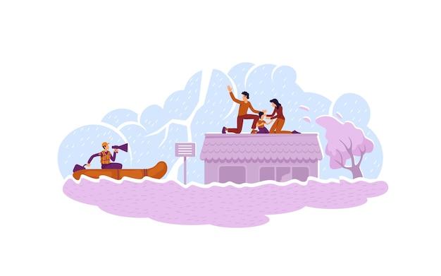 Banner web 2d di salvataggio inondazioni, poster. servizio di salvaguardia. soccorritore in barca che salva i personaggi della famiglia sullo sfondo del fumetto. patch stampabile disastro naturale, elemento web colorato
