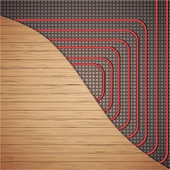 Impianto di riscaldamento a pavimento sotto copertura in legno. Vettore Premium