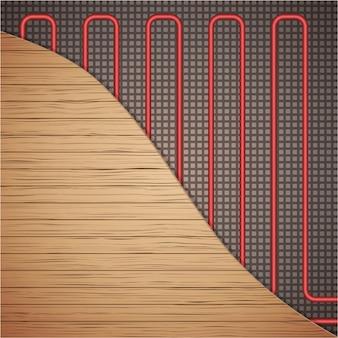 Impianto di riscaldamento a pavimento sotto copertura in legno.
