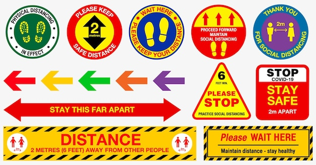 Adesivi di distanziamento sociale the floor o pratiche di salute pubblica per covid19 o salute e sicurezza
