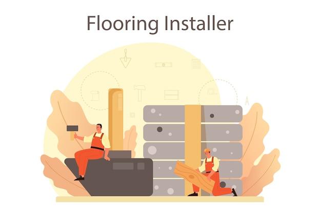Illustrazione di installatore di pavimenti