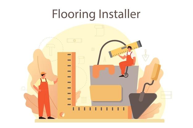 Installatore di pavimenti. posa professionale di parquet, pavimenti in legno o piastrelle.
