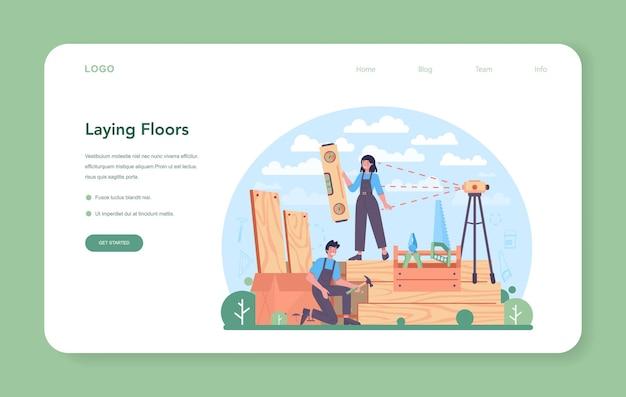 Banner web o pagina di destinazione dell'installatore di pavimenti. illustrazione vettoriale piatto isolato