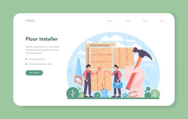 Installatore di pavimenti banner web o landing page posa professionale di parquet