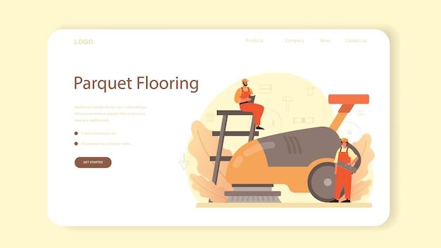 Banner web o pagina di destinazione del programma di installazione di pavimenti