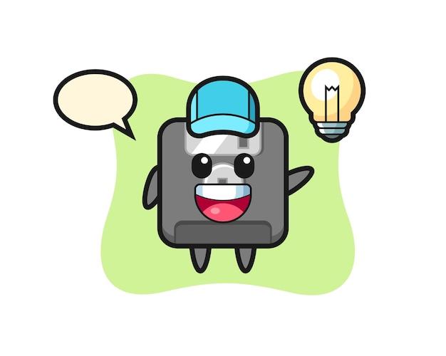 Cartone animato personaggio floppy disk che ottiene l'idea, design in stile carino per t-shirt, adesivo, elemento logo
