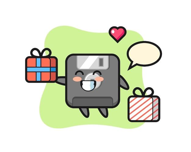 Cartone animato mascotte floppy disk che fa il regalo, design in stile carino per maglietta, adesivo, elemento logo