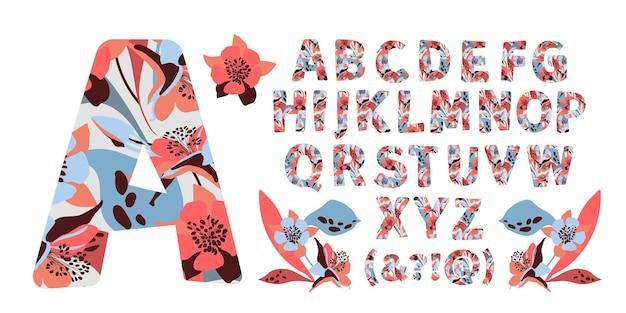 Alfabeto floreale dalla a alla z lettere con fiori. caratteri maiuscoli