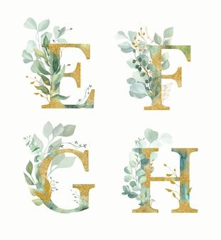 Alfabeto floreale, lettere impostate - e, f, g, h con verde dell'acquerello e foglia d'oro.