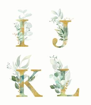 Alfabeto floreale, set di lettere - i, j, k, l con verde dell'acquerello e foglia d'oro.