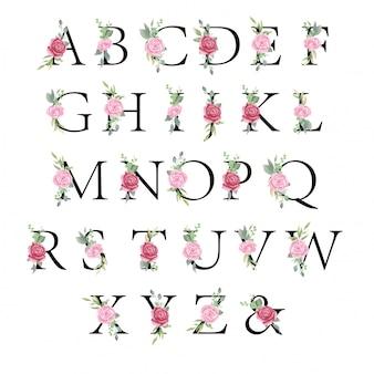 Insieme di alfabeto floreale, lettere con i fiori dell'acquerello e foglia per l'invito di nozze