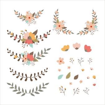 Set di decorazioni floreali