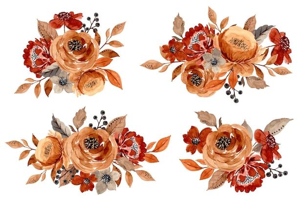 Collezione di composizioni floreali con acquarello