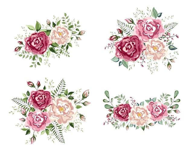 Una composizione floreale a forma di un angolo di bellissime rose. fiori di pesca, rosa pallido cremoso anemone poppy rose, bacche di erbe di eucalipto mix rustico floreale