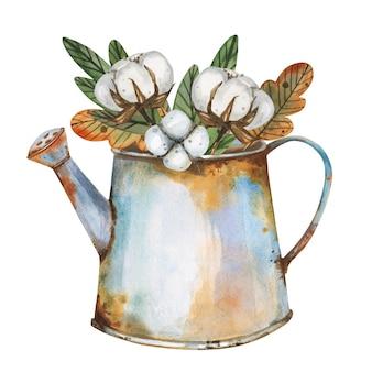 Composizione floreale con rami di cotone naturale, foglie in un annaffiatoio arrugginito retrò Vettore Premium