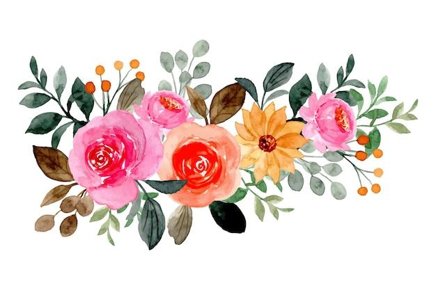 Composizione floreale con acquarello