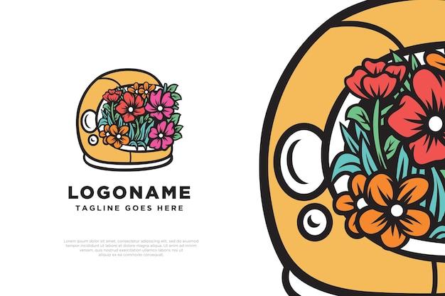 Illustrazione floreale di progettazione del logo dell'astronauta