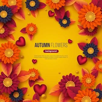 Sfondo floreale autunnale con fiori in stile taglio carta 3d, foglie e cuori decorativi. colori gialli, arancioni, viola, illustrazione vettoriale.