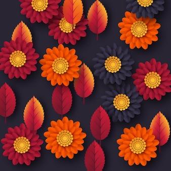 Sfondo floreale autunnale con foglie e fiori in stile taglio carta 3d. colori gialli, arancioni, viola, illustrazione vettoriale.