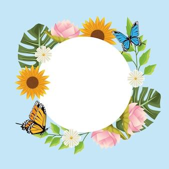Sfondo floreale in cornice circolare con farfalle e fiori.