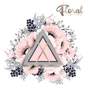 Disegno di sfondo floreale con elementi geometrici
