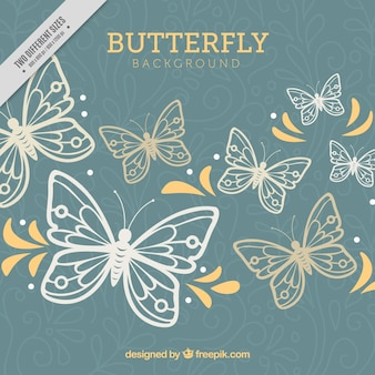 Sfondo floreale con farfalle e forme gialle