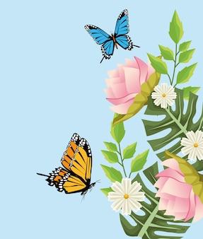 Sfondo floreale con scena di fiori e farfalle.